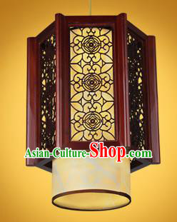 Chinese Classical Handmade Palace Lanterns Wood Carving Hanging Lantern Ancient Ceiling Lamp