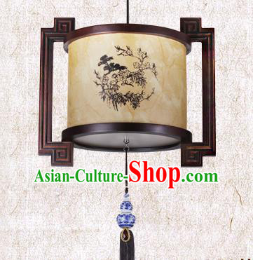 Traditional Chinese Painted Palace Lanterns Handmade Wood Hanging Lantern Ancient Ceiling Lamp