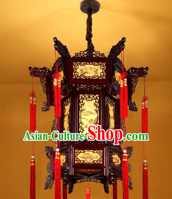 Traditional Chinese New Year Wood Palace Lanterns Hanging Lantern Ancient Ceiling Lamp