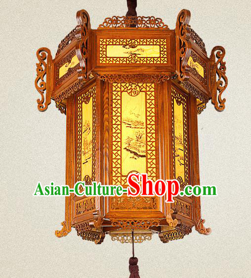 Traditional Chinese Painted Palace Lanterns Wood Carving Hanging Lantern Ancient Ceiling Lamp