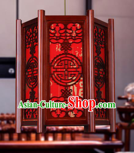 Traditional Chinese Red Palace Lanterns Handmade Wood Hanging Lantern Ancient Ceiling Lamp