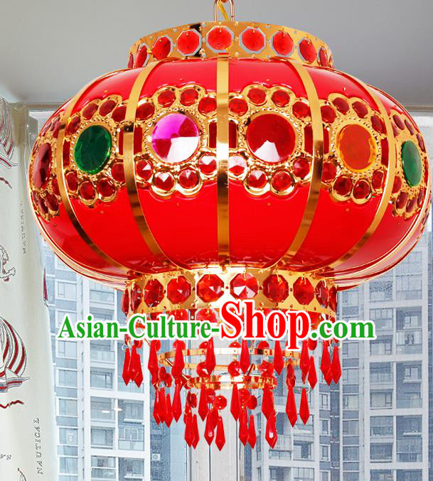Traditional Chinese Colorful Revolving Palace Lanterns Handmade Hanging Lantern Ancient Ceiling Lamp
