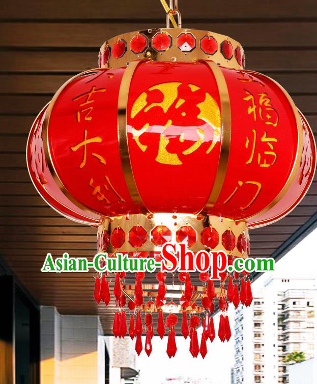 Traditional Chinese Red Revolving Palace Lanterns Handmade Hanging Lantern Ancient Ceiling Lamp