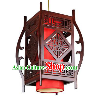 Traditional Chinese Wood Red Palace Lanterns Handmade Hanging Lantern Ancient Ceiling Lamp