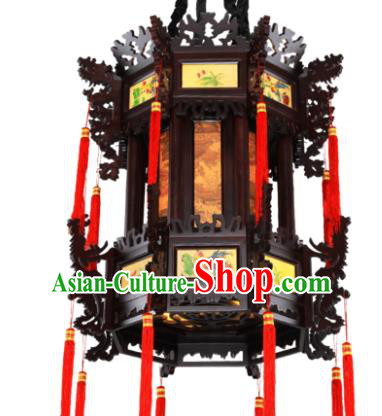 Traditional Chinese Wood Hanging Palace Lanterns Handmade Black Lantern Ancient Ceiling Lamp