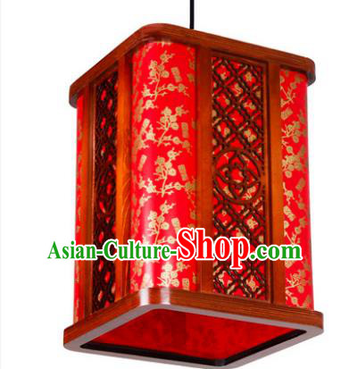 Traditional Chinese Red Hanging Palace Lanterns Handmade Painted Wintersweet Lantern Ancient Ceiling Lamp