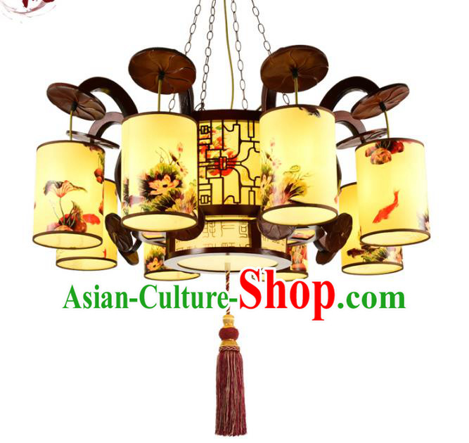 Traditional Chinese Eight-Lights Hanging Palace Lanterns Handmade Painted Lantern Ancient Ceiling Lamp