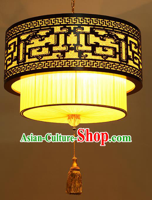 Traditional Chinese Yellow Hanging Palace Lanterns Handmade Lantern Ancient Ceiling Lamp