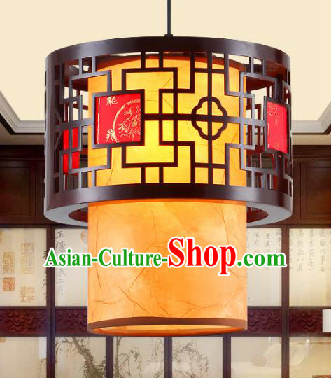 Traditional Chinese Hanging Palace Lanterns Handmade Yellow Lantern Ancient Ceiling Lamp
