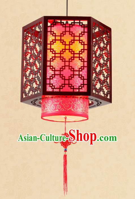 Traditional Chinese Red Hanging Palace Lanterns Handmade Wood Lantern Ancient Ceiling Lamp