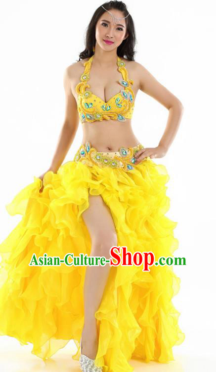 Indian National Belly Dance Yellow Dress India Bollywood Oriental Dance Costume for Women