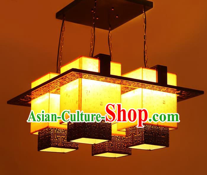 Traditional Chinese Four-Lights Hanging Palace Lanterns Handmade Wood Lantern Ancient Ceiling Lamp