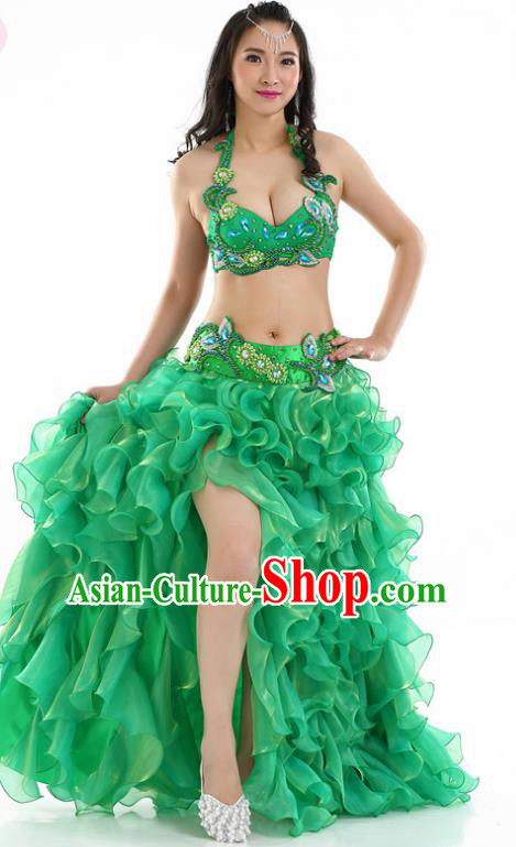 Indian National Belly Dance Green Dress India Bollywood Oriental Dance Costume for Women