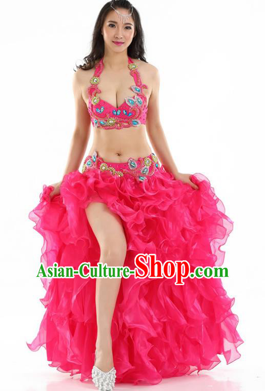 Indian National Belly Dance Rosy Dress India Bollywood Oriental Dance Costume for Women