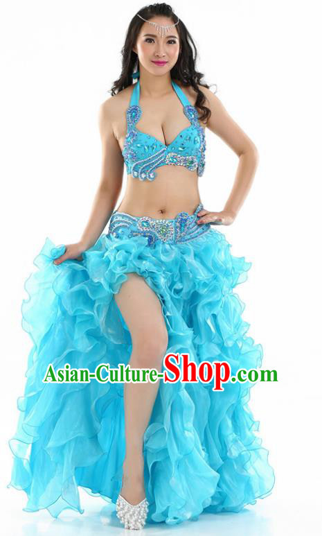 Indian National Belly Dance Blue Sequenced Dress India Bollywood Oriental Dance Costume for Women