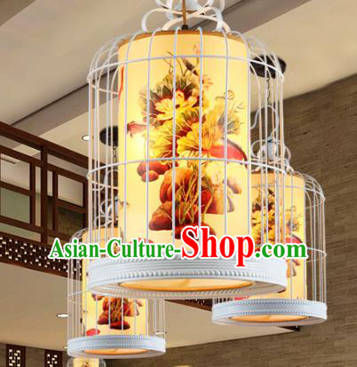 Traditional Chinese Painted Hanging Palace Lanterns Handmade Birdcage Lantern Ancient Ceiling Lamp