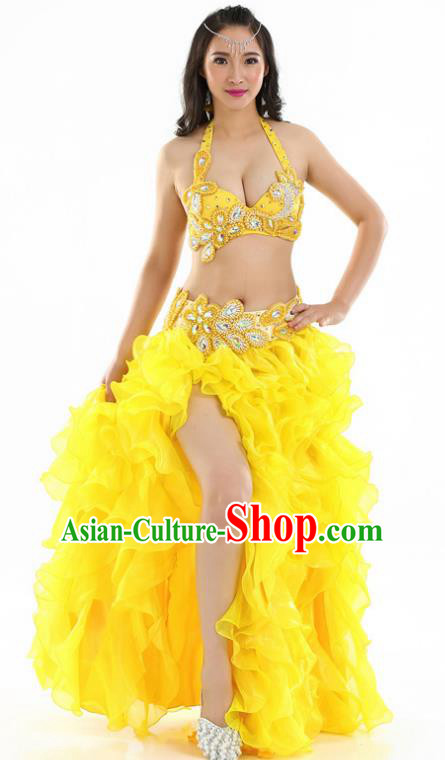 Indian National Belly Dance Yellow Sexy Dress India Bollywood Oriental Dance Costume for Women