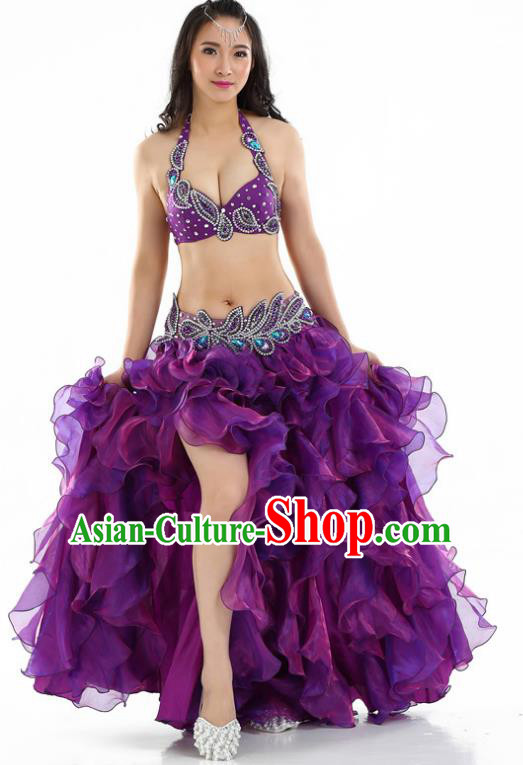 Indian National Belly Dance Purple Sexy Dress India Bollywood Oriental Dance Costume for Women