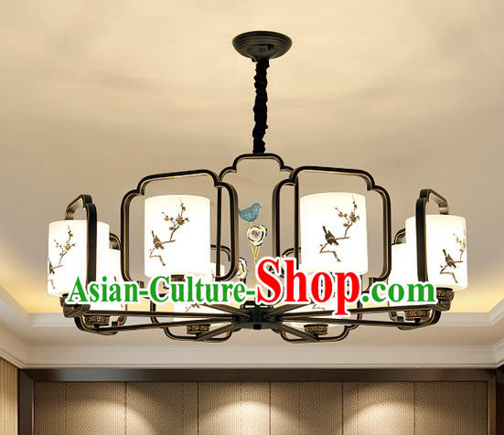 Traditional Chinese Printing Plum Blossom Ceiling Palace Lanterns Handmade Eight-Lights Lantern Ancient Lamp