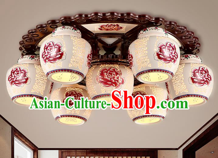 Traditional Chinese Painting Red Peony Ceiling Palace Lanterns Handmade Seven-Lights Porcelain Lantern Ancient Lamp