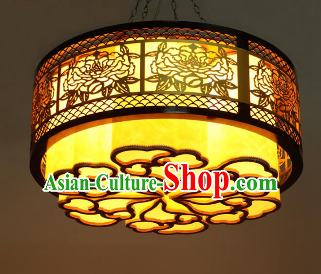 Traditional Chinese Wood Peony Palace Lanterns Handmade Lantern Ancient Ceiling Lamp