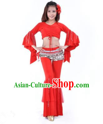 Indian National Belly Dance Mandarin Sleeve Clothing India Oriental Dance Red Costume for Women