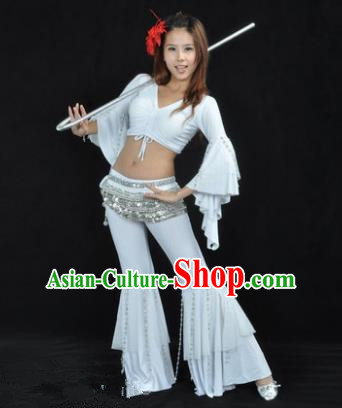 Indian National Belly Dance Mandarin Sleeve Clothing India Oriental Dance White Costume for Women