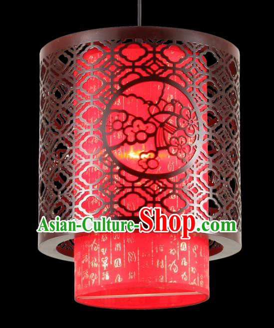 Traditional Chinese Palace Red Hanging Lanterns Handmade Wood Carving Lantern Ancient Ceiling Lamp