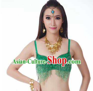 Indian National Belly Dance Costume Sexy Green Tassel Brassiere for Women