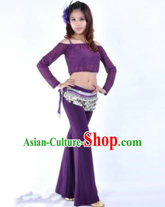 Indian National Belly Dance Purple Uniform Bollywood Oriental Dance Costume for Women