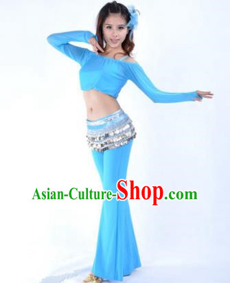 Indian National Belly Dance Blue Uniform Bollywood Oriental Dance Costume for Women
