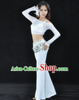 Indian National Belly Dance White Uniform Bollywood Oriental Dance Costume for Women