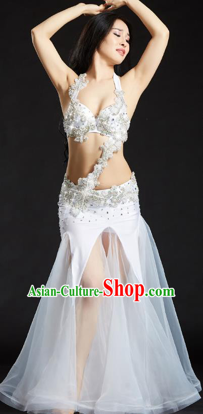 Traditional Indian National Belly Dance White Veil Dress India Bollywood Oriental Dance Costume for Women