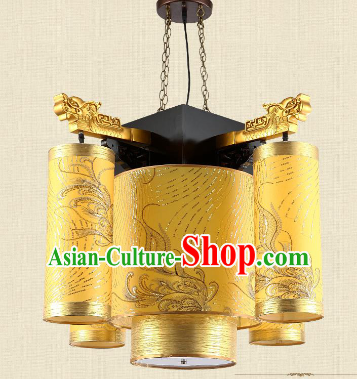 Traditional Chinese Ceiling Palace Lanterns Handmade Golden Lantern Ancient Hanging Lamp