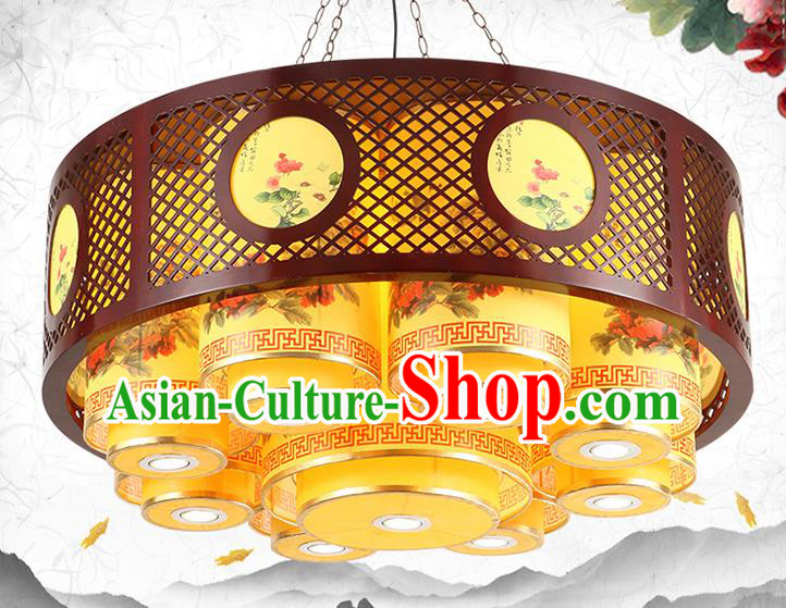 Traditional Chinese Wood Ceiling Palace Lanterns Handmade Painted Lantern Ancient Hanging Lamp