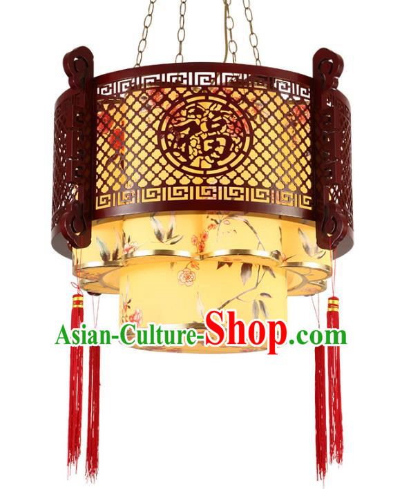 Traditional Chinese Ceiling Palace Lanterns Handmade Wood Painted Lantern Ancient Hanging Lamp