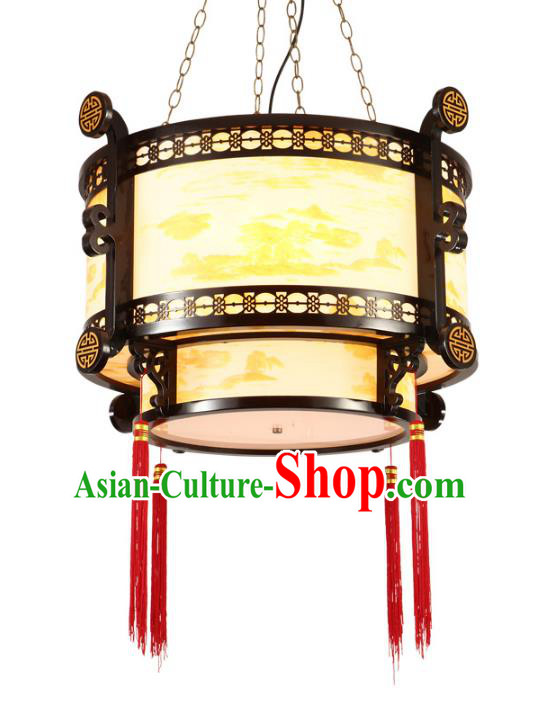 Traditional Chinese Ceiling Palace Lanterns Handmade Wood Painted Hanging Lantern Ancient Lamp