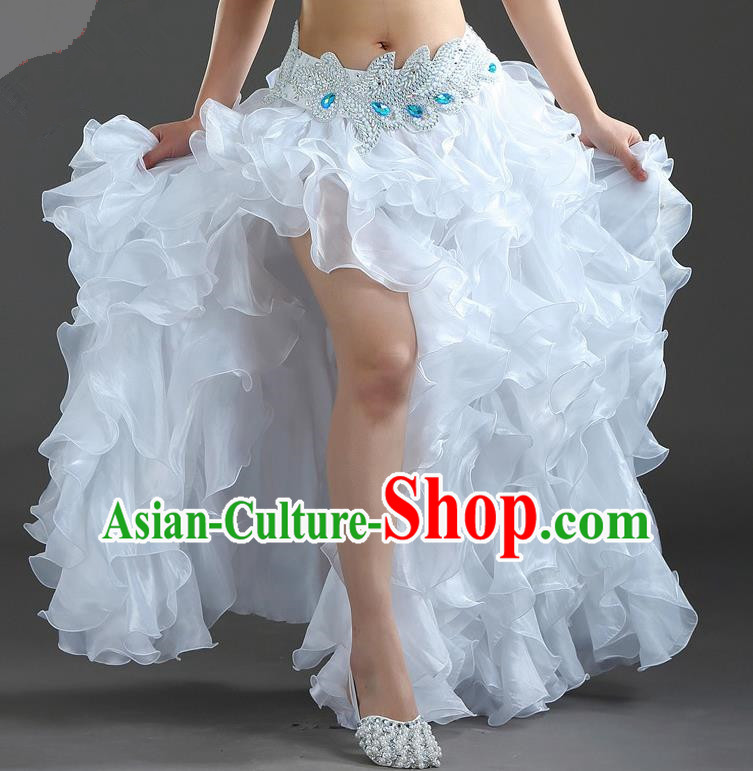 Traditional Indian National Belly Dance White Bubble Split Skirt India Bollywood Oriental Dance Costume for Women