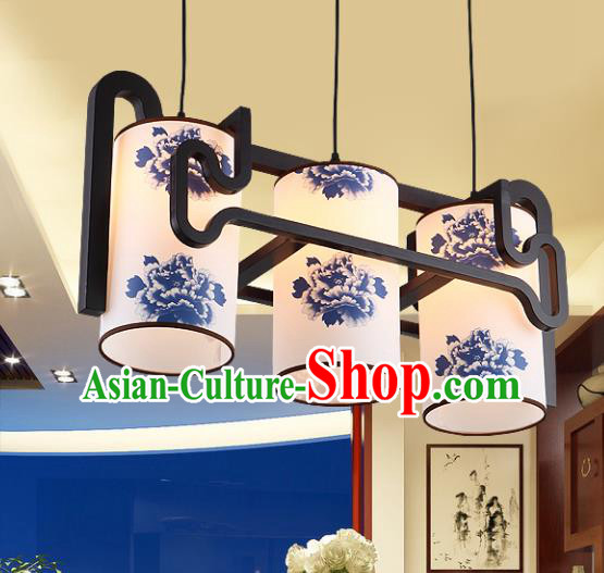 Traditional Chinese Painting Peony Three-Lights Ceiling Palace Lanterns Handmade Wood Hanging Lantern Ancient Lamp