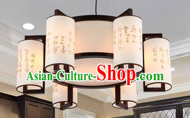 Traditional Chinese Painting Six-Lights Ceiling Palace Lanterns Handmade Wood Hanging Lantern Ancient Lamp
