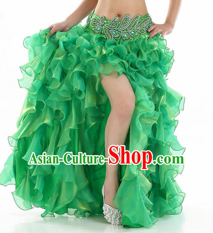 Traditional Indian National Belly Dance Green Bubble Split Skirt India Bollywood Oriental Dance Costume for Women