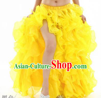 Traditional Indian National Belly Dance Yellow Bubble Split Skirt India Bollywood Oriental Dance Costume for Women