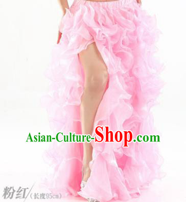 Traditional Indian National Belly Dance Pink Bubble Split Skirt India Bollywood Oriental Dance Costume for Women