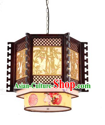 Traditional Chinese Wood Carving Bamboo Ceiling Palace Lanterns Handmade Lantern Ancient Lamp