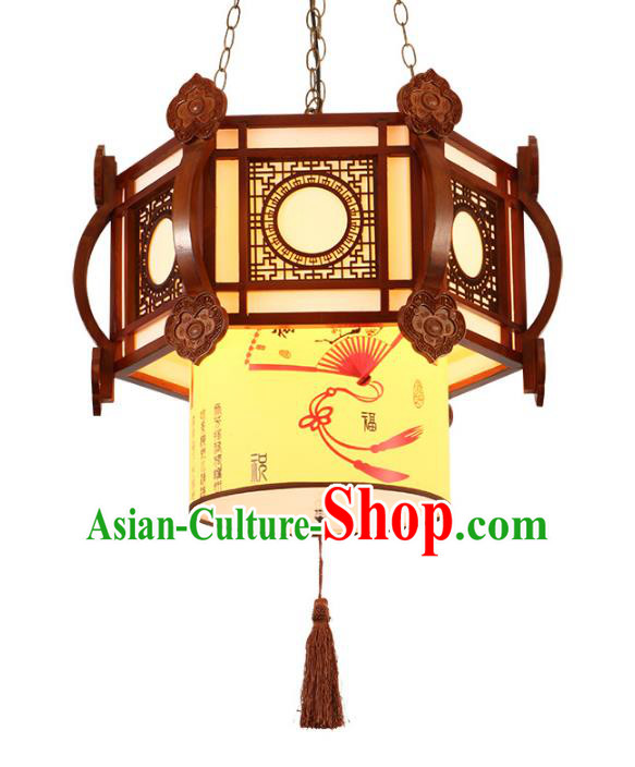 Traditional Chinese Ceiling Wood Palace Lanterns Handmade Wood Carving Lantern Ancient Lamp