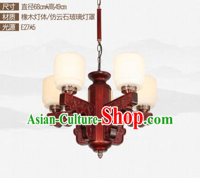 Traditional Chinese Five-lights Ceiling Palace Lanterns Handmade Wood Carving Lantern Ancient Lamp