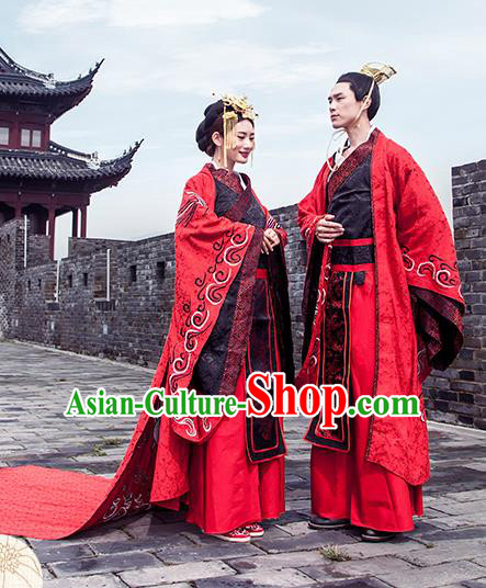 Chinese Han Dynasty Wedding Costume Ancient Emperor and Empress Embroidered Clothing Complete Set