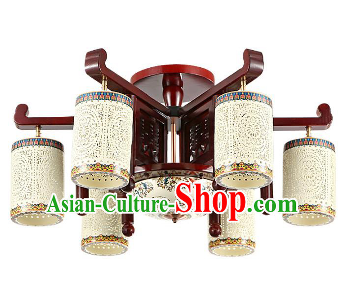 Traditional Chinese Porcelain Carving Hanging Ceiling Palace Lanterns Handmade Six-pieces Lantern Ancient Lamp