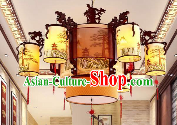 Traditional Chinese Painting Ceiling Palace Lanterns Handmade Six-pieces Lantern Ancient Lamp