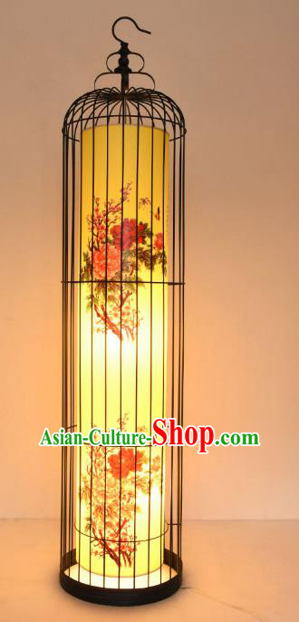 Traditional Asian China Painting Peony Lanterns Handmade Birdcage Lantern Ancient Floor Lamp